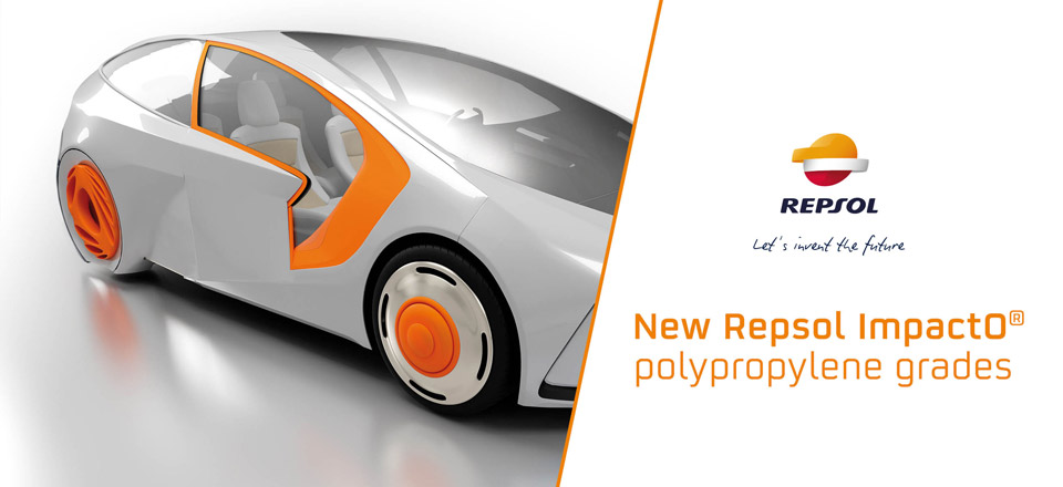 Futuristic car model next to a text reading, New Repsol ImpactO® polypropylene grades