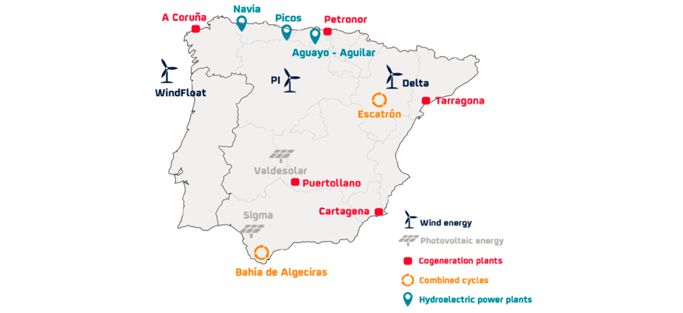 Map of Repsol's electricity generation assets and projects.