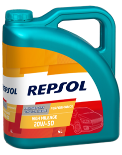 Repsol Performance High Mileage 20W50 lubricant bottle