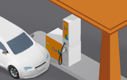 Illustration of a car refueling AutoGas at a Repsol service station