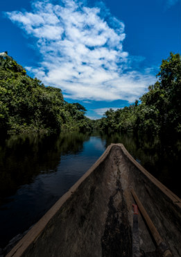 Boat in an Amazonian river. Sagari project.