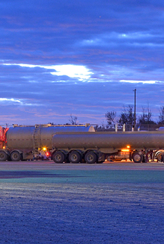 Tanker truck at dawn in America