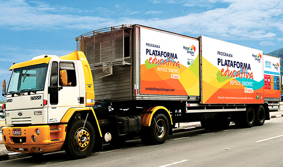The Repsol Sinopec educational platform official truck.