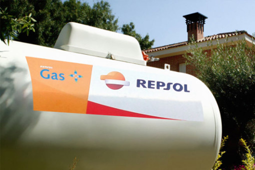 Shot of a white tanker with the Repsol logo