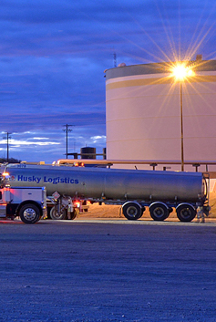 Husky Logistics tanker truck at dawn in America