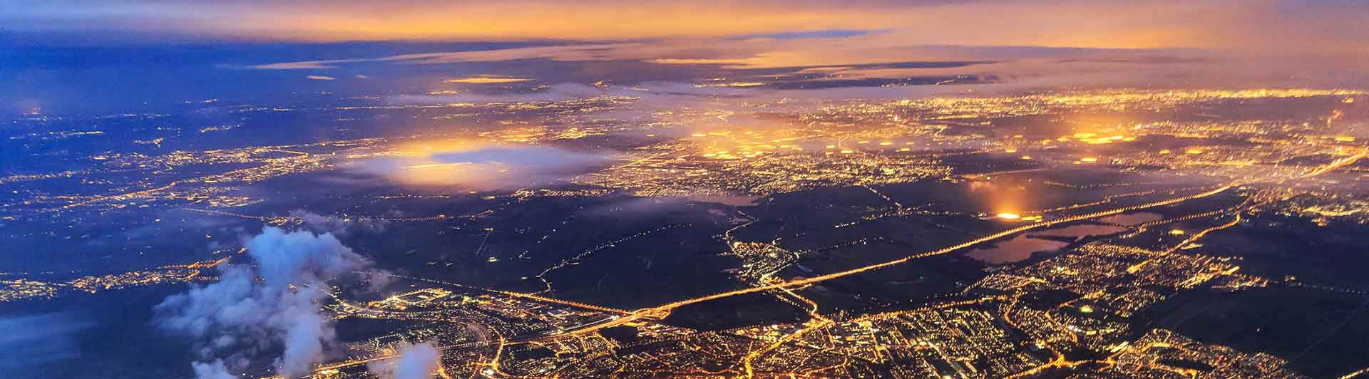 Aerial view of city lights at night