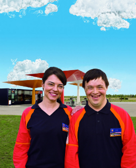 Two Repsol service station employees with disabilities