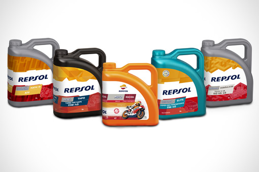 Five different Repsol lubricant bottles