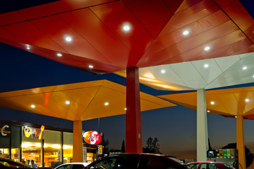 Repsol service station at night