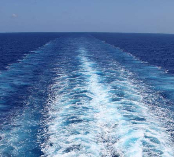 A ship's wake at sea. Safety - Success stories: Ship-to-Ship.