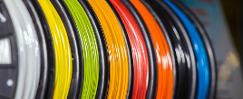 Close-up of filament spools for 3D printing