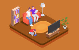 Illustration of a family sitting in their living room