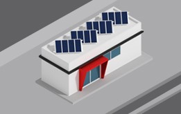 Illustration of a service stations with solar panels installed on the roof