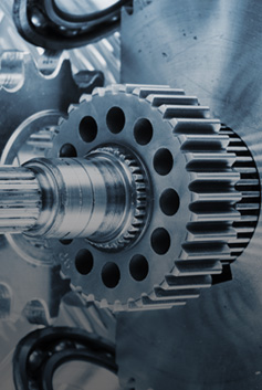 Closeup of gears moving