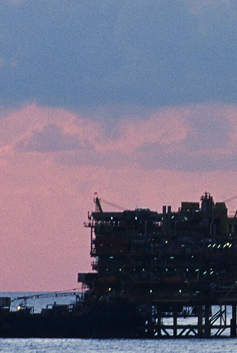 Repsol rig at dawn in Asia