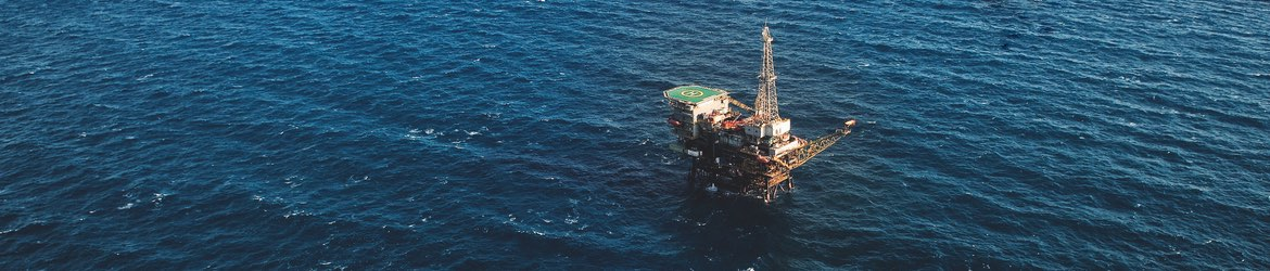 Aerial view of an oil platform in the ocean