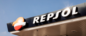 Repsol worldwide, Mexico. Closeup of a Repsol service station roof sign.