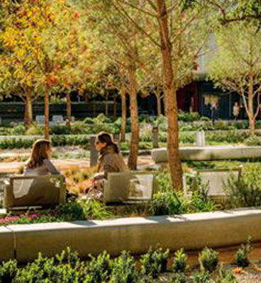 Two women seated on benches in the Repsol Campus gardens.