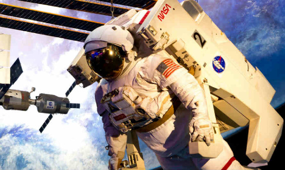 A NASA astronaut in space