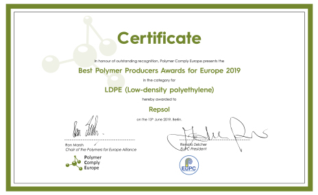 Best Polymers Producer Award Certificate 2019
