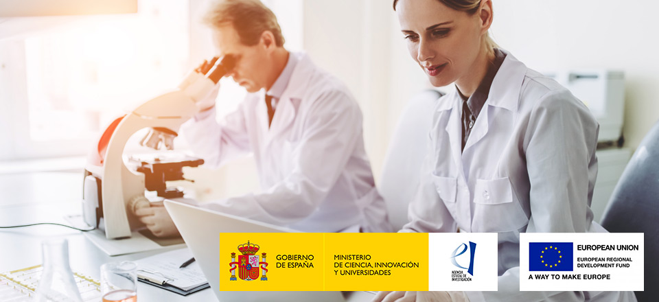 Two researchers at work, logos of the Spanish Ministry of Science, Innovation, and Universities and the European Funds for development.