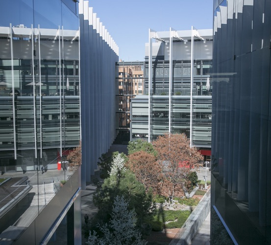Side shot of the Repsol Campus courtyard