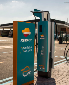 Electric recharge point at a Repsol service station