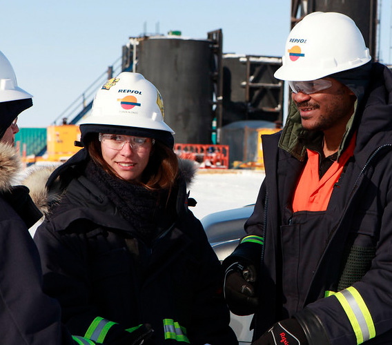 Repsol operators equipped with security gear