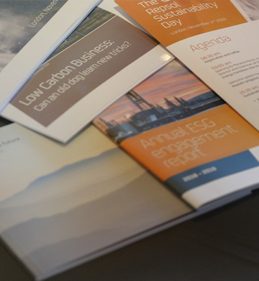 Close-up of printed Repsol publications