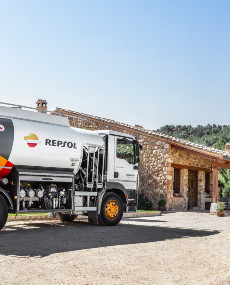 A Repsol tanker at a residential home