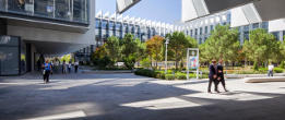 Long shot of Repsol Campus courtyard