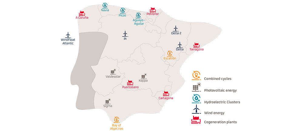 Repsol's electricity generation projects and assets across the Iberian Peninsula