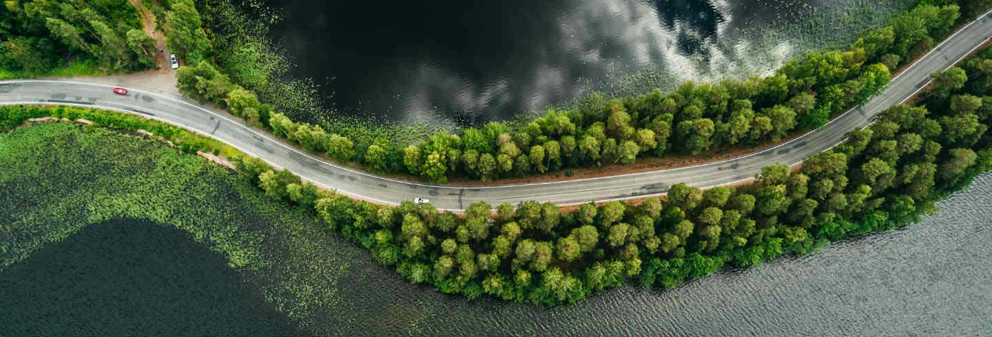Aerial shot of a road by a lake surrounded by trees