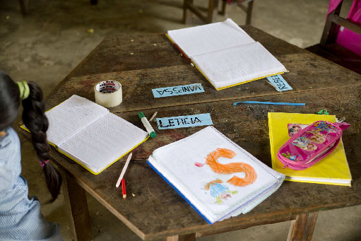 A shot of school materials on a table in a classroom