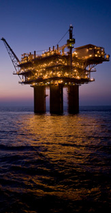 Repsol in the US. Sea platform at night