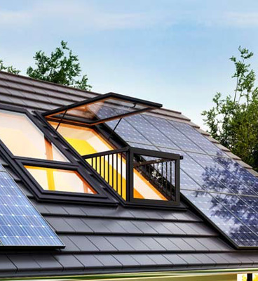Solar panels on the roof of a house. Repsol Solify, renewable energy.