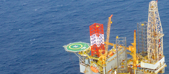 Shot of a Repsol oil rig located in the Perla field