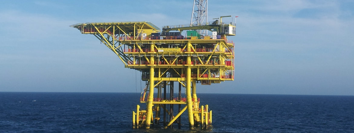 Shot of an offshore Repsol facility in Vietnam