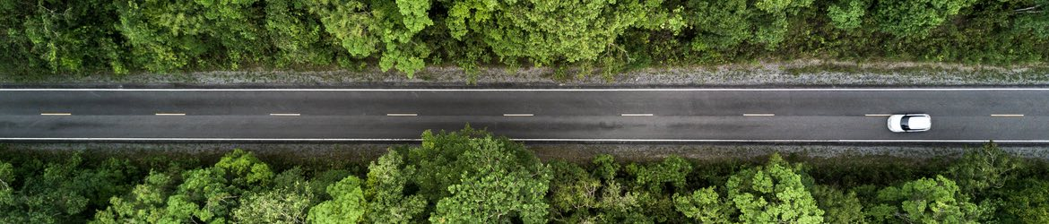 Aerial shot of a car driving down a road through a forest